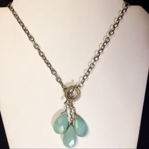 Jewelry - Agate & Silver Lariat Toggle Necklace